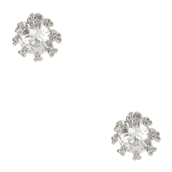 4MM Round Cubic Zirconia Stud Earrings,