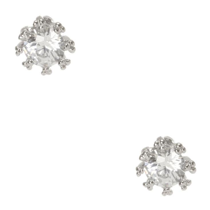 4MM Round Cubic Zirconia Stud Earrings,