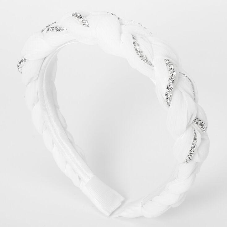 Rhinestone Braided Headband - White,