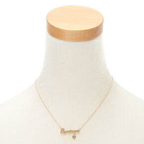 Gold Zodiac Pendant Necklace - Capricorn,