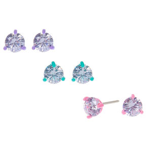 Sterling Silver Cubic Zirconia 5MM Round Stud Earrings - 3 Pack,
