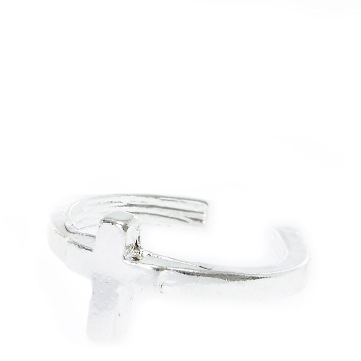 Silver Tone Cross Ear Cuff,