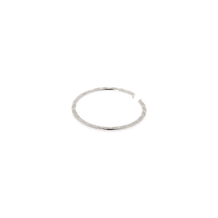 Sterling Silver 22G Textured Hoop Nose Ring,