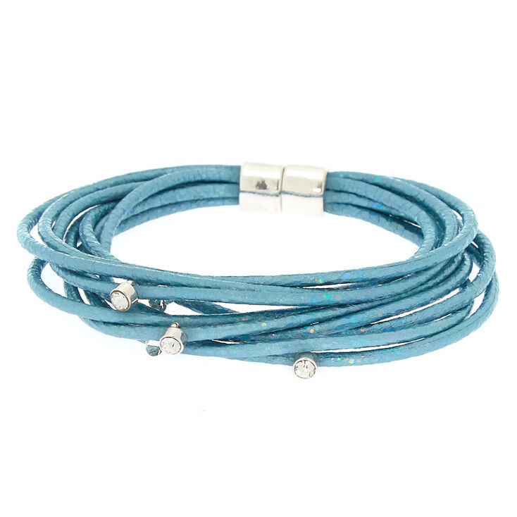 Holographic Cord Statement Bracelet - Blue,