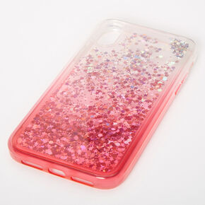 Red Glitter Star Liquid Fill Phone Case - Fits iPhone XR,