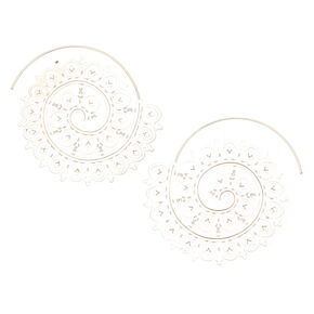 Silver 50MM Filigree Swirl Hoop Earrings,