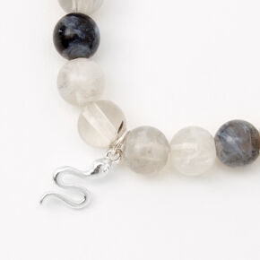 Silver Snake Marble Beaded Stretch Beacelet - Grey,