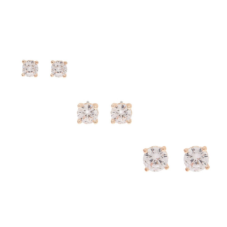 3 Pack Cubic Zirconia Stud Earrings,