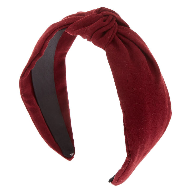 Knotted Suede Headband - Burgundy,