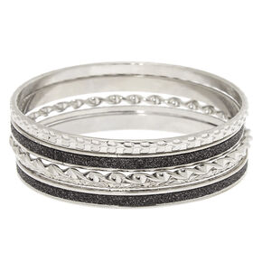 Silver Arm Party Bangle Bracelets - 5 Pack,