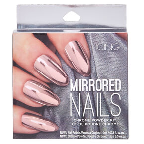 Pink Chrome Powder Nails Set,