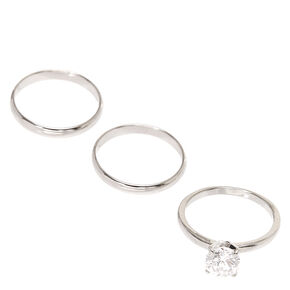 Stackable Rhinestone Band Ring - 3 Pack,