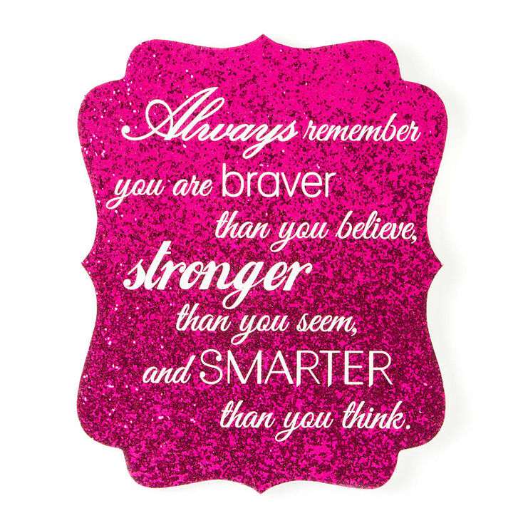 Always Remember Hot Pink Glitter Wall Plaque,