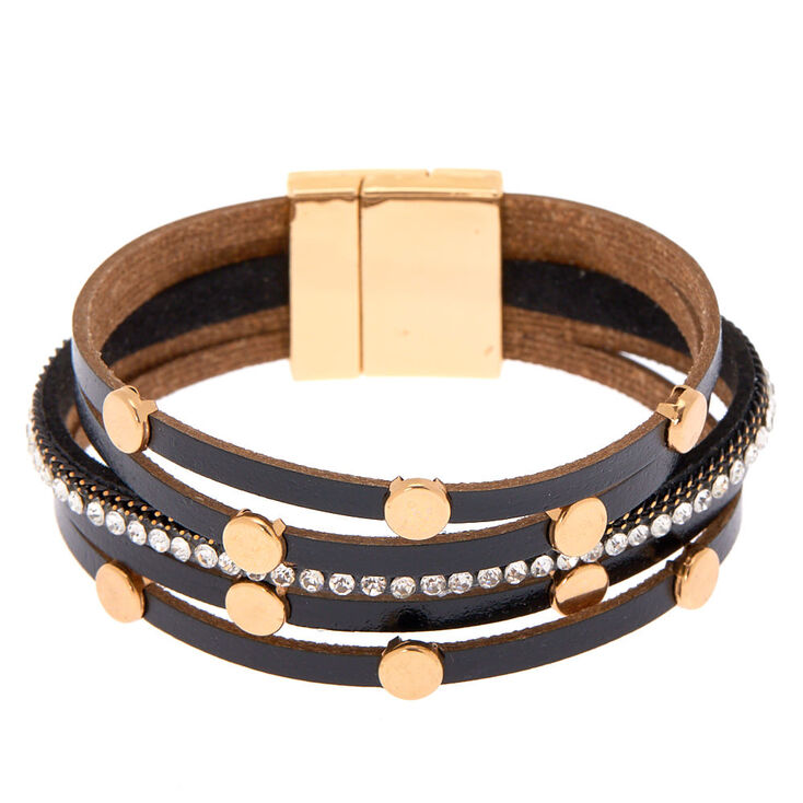 Gold Layered Wrap Bracelet - Black,