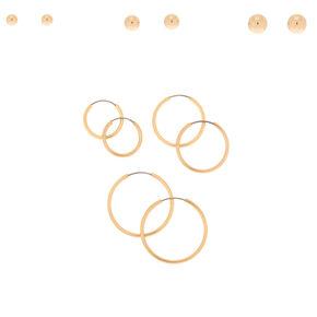 Gold Graduated Stud & Hoop Earrings - 6 Pack,
