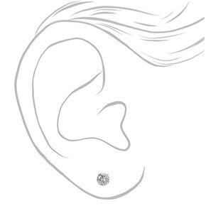Silver Cubic Zirconia 7MM Round Stud Earrings,