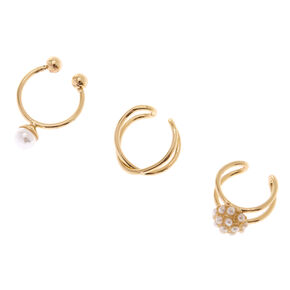 Gold Pearl Band Ear Cuffs 3 Pack,