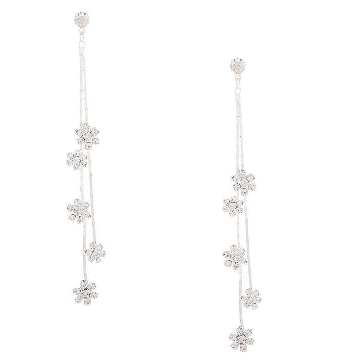 """Silver Rhinestone 3"""" Flower Drop Earrings,"""