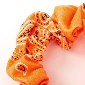 Small Bandana Knotted Bow Hair Scrunchie - Neon Orange,