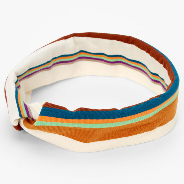 Striped Twisted Headwrap - White,