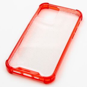 Red Glitter Clear Phone Case - Fits iPhone 12/12 Pro,