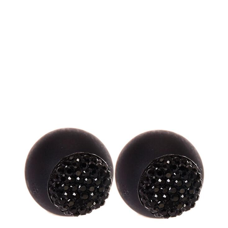 Black Pavè Front & Back Stud Earrings,