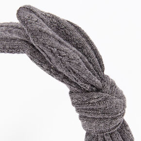 Sweater Knotted Bow Headband - Gray,