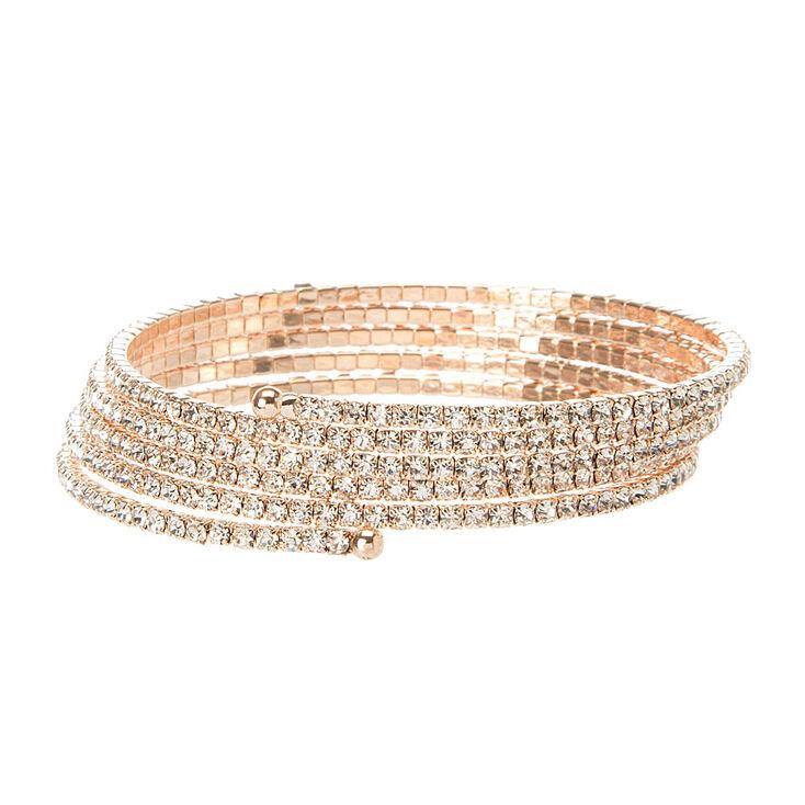 Rose Gold Studded Coil Statement Bracelet,