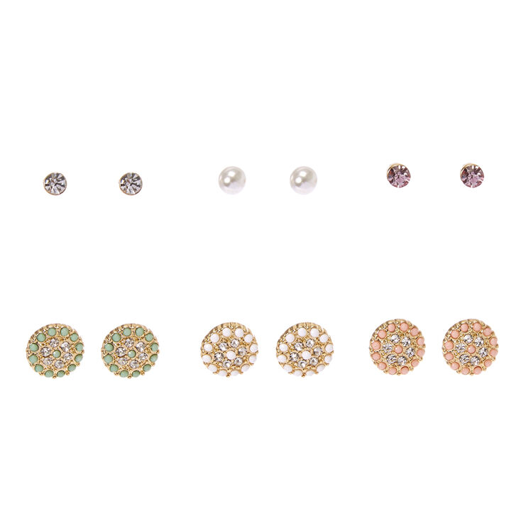 Gold Tone  Beaded Circle & Faux Crystal Stud Earrings,