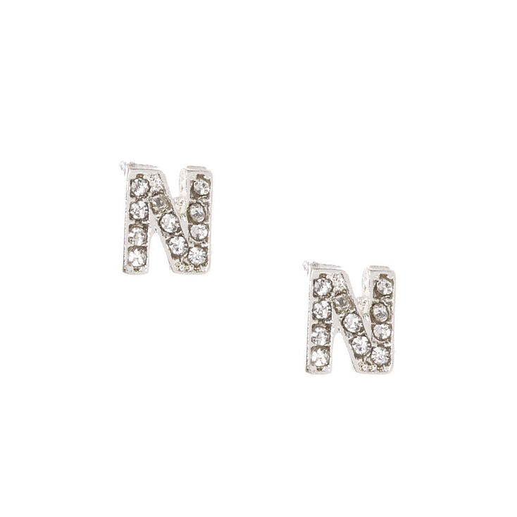 "Silver Tone Faux Crystal Initial ""N"" Stud Earrings,"