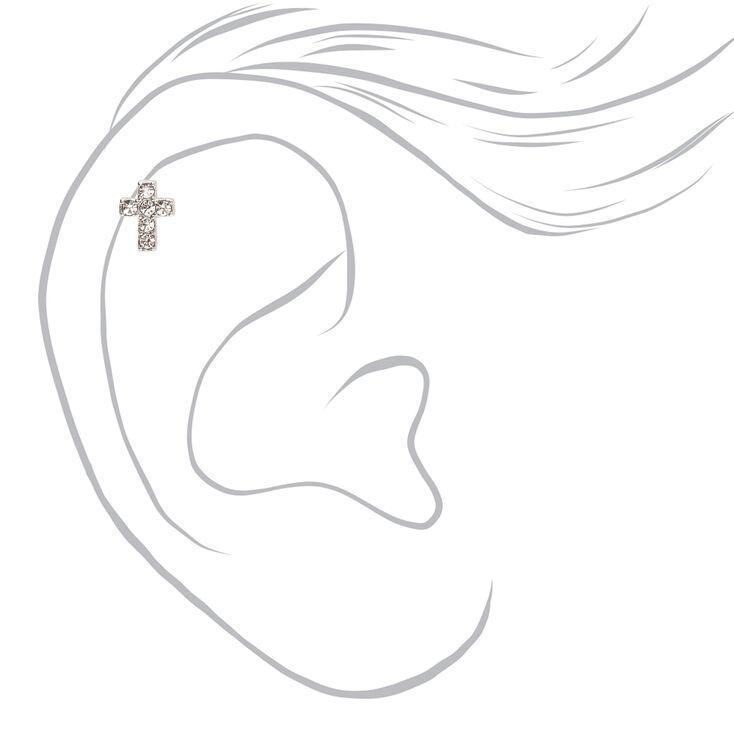 Silver Titanium 16G Crystal Cross Cartilage Stud Earring,
