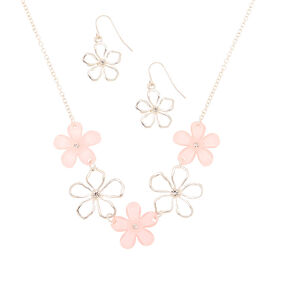 Silver Glimmer Floral Jewelry Set - Pink, 2 Pack,