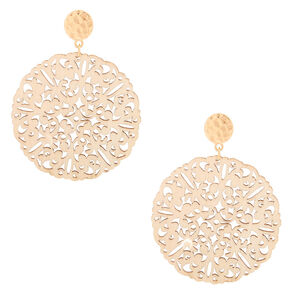 "Gold 2"" Filigree Wooden Disc Drop Earrings - Cream,"