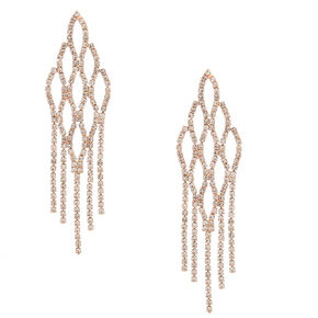 "3.5"" Rose Gold Fish Scale Rhinestone Drop Earrings,"