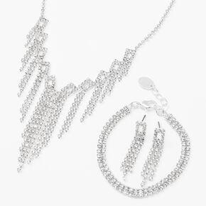 Silver Rhinestone Fringe Jewelry Set - 3 Pack,