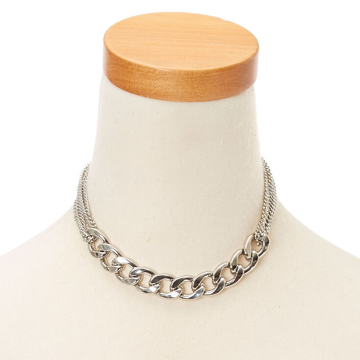 Silver Toned Chain Choker,