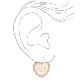 Mixed Metal Filigree Heart Drop Earrings,