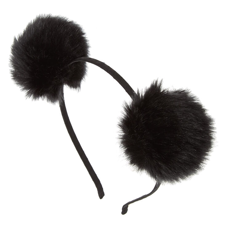 Black Pom Poms Headband,