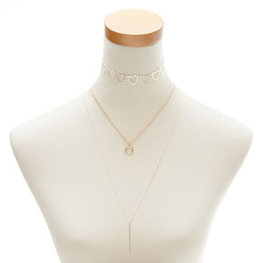 Mixed Metal Shape Necklace Set,