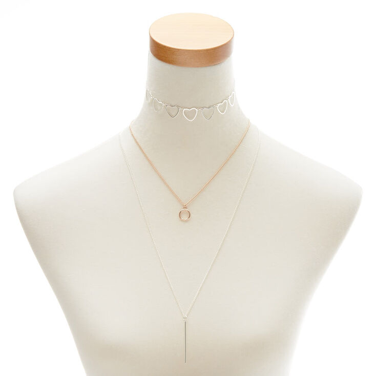 Mixed Metal Shape Necklace Set,
