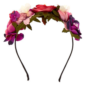 Romantic Flower Crown Headband - Pink,