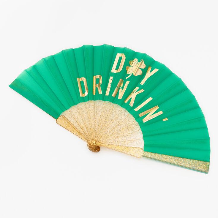 Day Drinkin' Glitter Folding Fan - Green,
