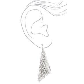"""Silver 4"""" Mesh Drop Earrings,"""