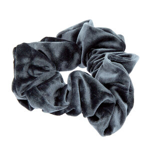 Oversized Velvet Hair Scrunchie - Slate Gray,