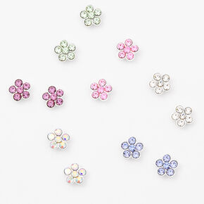 Silver Pastel Daisy Magnetic Stud Earrings - 6 Pack,