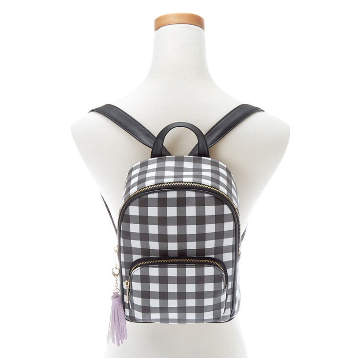 Gingham Print Small Backpack - Black,