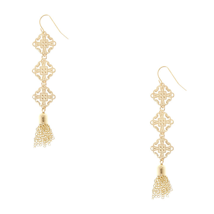Gold Tone Square Medallion & Chain Fringe Tassel Drop Earrings,