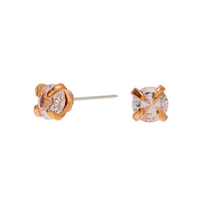Gold Cubic Zirconia Round Stud Earrings - 3MM,