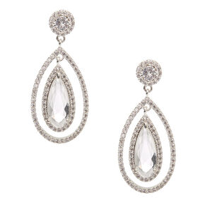 "Silver Cubic Zirconia 1.5"" Teardrop Drop Earrings,"