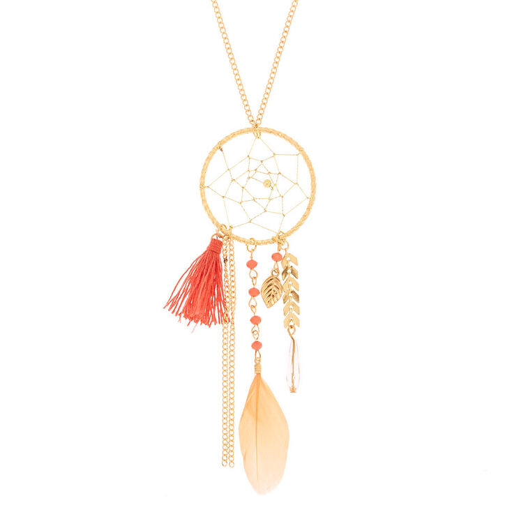 Gold Dreamcatcher Long Pendant Necklace - Coral,